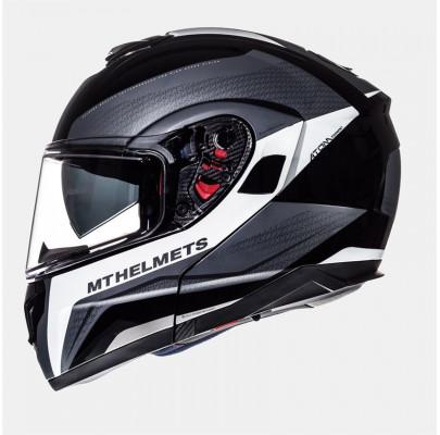 Мотошлем Flip-up MT Helmets ATOM TARMAC gloss & matt black white titanium XS