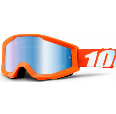 Очки кроссовые 100% STRATA Goggle Orange - Mirror Blue Lens