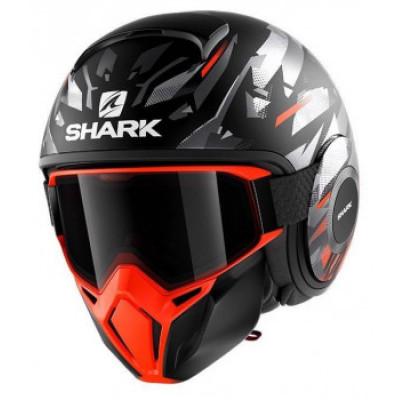 Мотошлем Интеграл Shark STREET DRAK KANHJI mat black\orange\silver (M)H3314EKOS