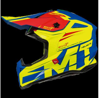 Мотошлем Кросс/Эндуро MT Falcon Weston Gloss fluor yellow (S) MM
