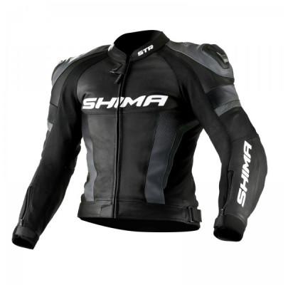 Мотокуртка кожанная SHIMA STR black/grey (54)